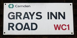 Gray's Inn Road - On roadsigns, the name is spelled both with and without an apostrophe