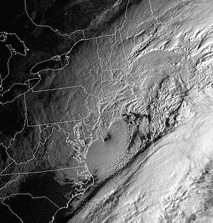 Eye (cyclone) - The North American blizzard of 2006, an extratropical storm, showed an eye-like structure at its peak intensity (here seen just to the east of the Delmarva Peninsula).