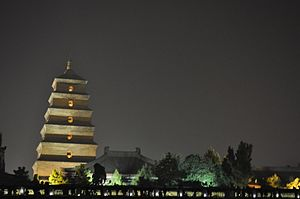 Giant Wild Goose Pagoda - Image: Great wild goose pagoda by night