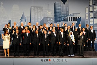 2010 G20 Toronto summit - Leaders pose for a group photo at the Metro Toronto Convention Centre