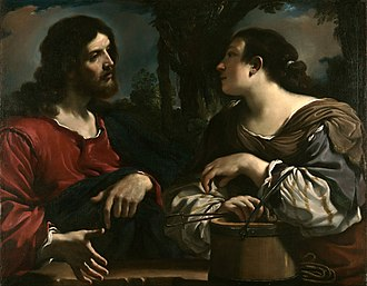 Guercino - Caravaggio's influence is apparent in this canvas Christ and the Woman of Samaria