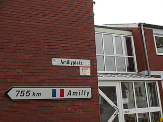 Amilly, Loiret - Guidepost for Amilly in twintown Nordwalde