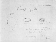 Pencil drawing from 1882 to 1883 of the Guilden Morden boar and other objects found with it
