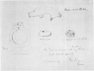 Guilden Morden boar - 1882–1883 drawing of the Guilden Morden grave goods