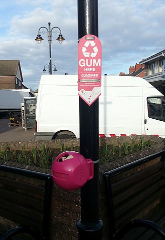 Butyl rubber - Gumdrop chewing gum collecting bin