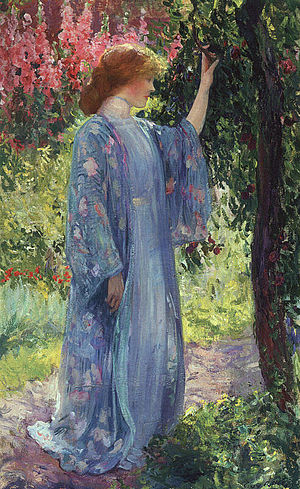Decorative Impressionism - Guy Rose. The Blue Kimono. His work has been termed Decorative Impressionism.