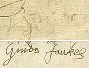 Guy Fawkes' signature immediately after torture (only 'Guido') and eight days later.