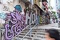 HK 上環 Sheung Wan 太平山街 Tai Ping Shan Street 水巷 Water Lane back Graffit wall painting Hollywood Road stairs Octopus April 2018 IX2 02.jpg