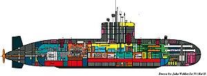 Upholder/Victoria-class submarine - A cross-section of an Upholder-class submarine
