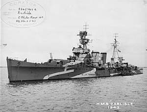 C-class cruiser - HMS Carlisle in Plymouth Sound in 1942
