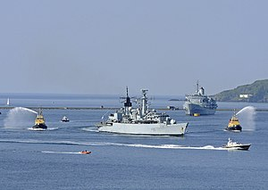 HMS Cornwall (F99) - HMS Cornwall enters Devonport for the final time, 26 April 2011