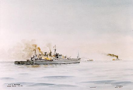Painting depicting the cruisers HMS Exeter (foreground) and HMNZS Achilles (right center background) in action with the German armored ship Admiral Graf Spee (right background) HMS Exeter River Plate.jpg