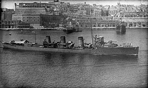 Scorpion in Valletta harbour, Malta, 1915