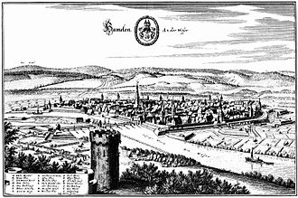Siege of Hamelin - Hamelin, showing the town's defences in 1654