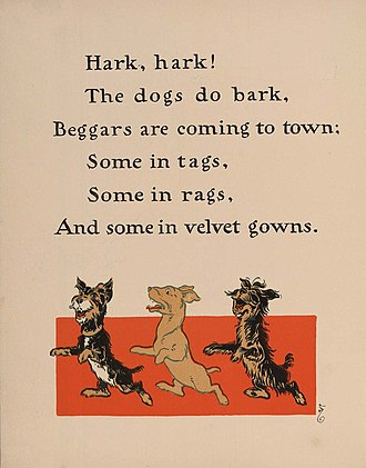 Hark, Hark! The Dogs Do Bark - Illustrated lyric from Denslow's Mother Goose (1901)
