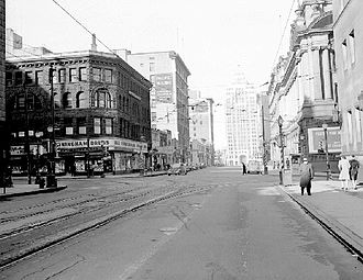 Hastings Street (Vancouver) - Circa 1945. Looking northwest towards the Marine Building from Granville Street.