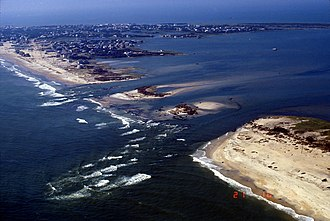Cape Hatteras - An aerial view of where Hurricane Isabel cut inlets into Hatteras Island