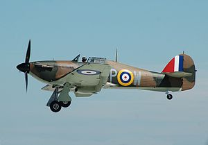 Battle of Britain - Hawker Hurricane R4118 fought in the Battle of Britain. Here it arrives at the 2014 Royal International Air Tattoo, England.