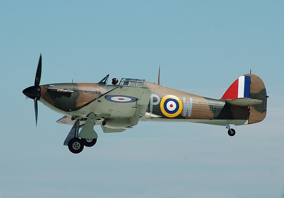 Hawker Hurricane R4118 arrives RIAT Fairford 10thJuly2014 arp