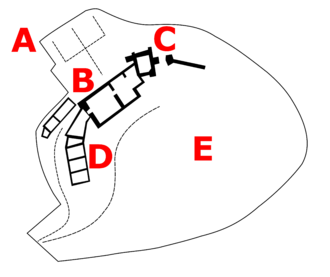 Hay Castle - Plan of the castle in the 21st century; A – terraced gardens; B – mansion; C – keep and gateway; D – stable and service block; E – rear garden
