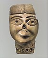 Head of a female wearing a necklace originally filled with stone inlay and gold MET DP110579.jpg