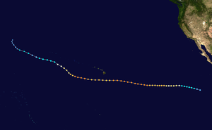 Map plotting the track and the intensity of the storm, according to the Saffir-Simpson scale Hector 2018 track.png