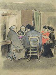 Pięć kobiet przy stole