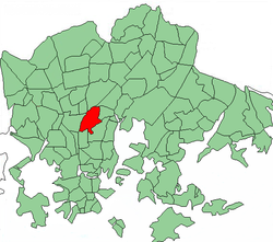 Position of Käpylä within Helsinki