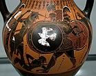 Herakles und Geryoneus auf einer attisch-schwarzfigurigen Amphora mit großzügigem Deckfarbenauftrag; um 540 v. Chr.; heute in den Staatlichen Antikensammlungen, München