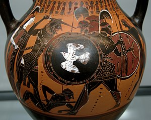 Black-figure pottery - Heracles and Geryon on an Attic black-figured amphora with a thick layer of transparent gloss, c. 540 BC, now in the Munich State Collection of Antiquities.