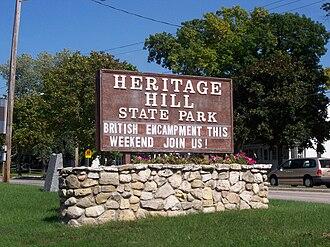 Heritage Hill State Historical Park - Park sign