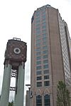 Hilton Charlotte Center City and clock tower.jpg