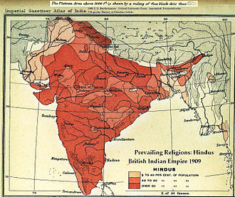 Two-nation theory - A map of the British Indian Empire, 1909, showing the percentage of Hindus in different districts