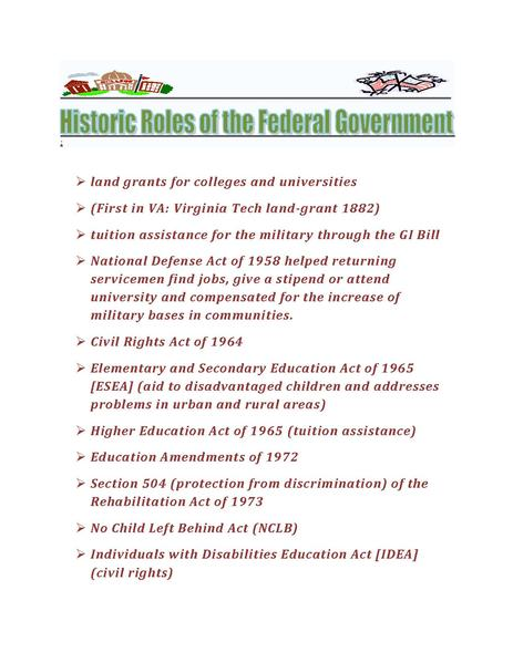 the role of federal government throughout The federal government of the united states  a more limited role for the central government in relation to individuals, the states, or other recognized entities.