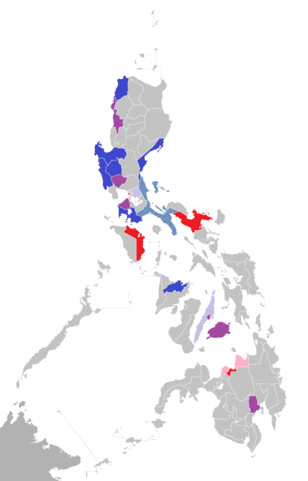 Home provinces (blue and purple) of the Presidents. Home provinces of Philippine Presidents.PNG