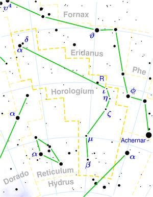 R Horologii - Image: Horologium constellation map