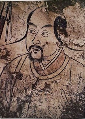 Liao dynasty - Khitan man in tomb painting in Aohan Banner, Inner Mongolia