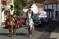 Horses In Traffic. Chobham Village Surrey UK.jpg