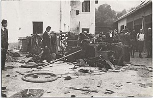 Hotel Europe (Sarajevo) - Destroyed garage of Hotel Evropa after the Anti-Serb riots in Sarajevo, 1914.