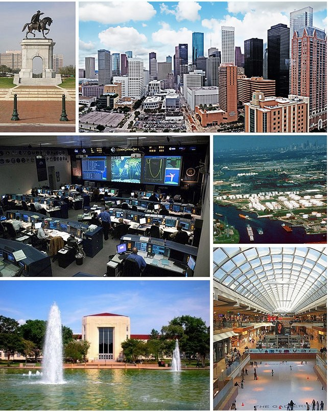 Clockwise from top: Sam Houston monument, Downtown Houston, Houston Ship Channel, The Galleria, University of Houston, and the Christopher C. Kraft Jr. Mission Control Center