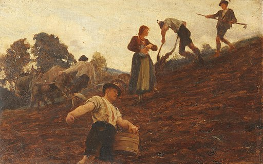 Hubert von Herkomer Farm workers tilling and sowing a hillside