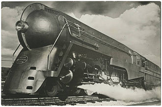 "New York Central Hudson - Promotional Image of a ""Dreyfuss"" streamlined New York Central Hudson Locomotive"