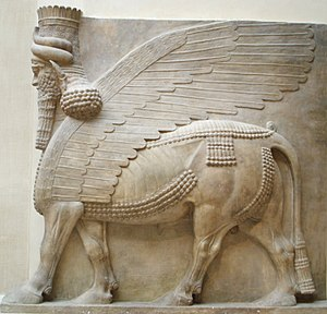 Mythological hybrid - Assyrian Shedu from the entrance to the throne room of the palace of Sargon II at Dur-Sharrukin (late 8th century BC), excavated by Paul-Émile Botta, 1843–1844, now at the Department of Oriental antiquities, Richelieu wing of the Louvre.
