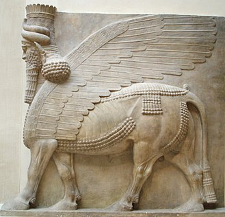 Hybrid beasts in folklore - Assyrian Shedu from the entrance to the throne room of the palace of Sargon II at Dur-Sharrukin (late 8th century BC), excavated by Paul-Émile Botta, 1843–1844, now at the Department of Oriental antiquities, Richelieu wing of the Louvre.