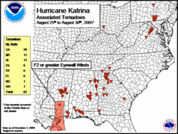 A map of the Eastern United States marking the location of tornadoes produced by Hurricane Katrina