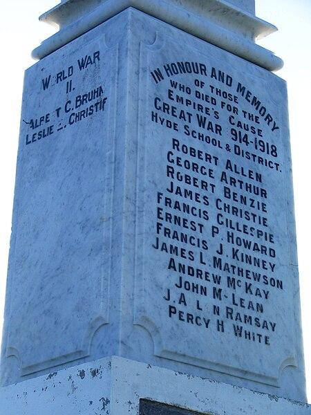 File:Hyde War Memorial plaque, Otago, NZ.JPG