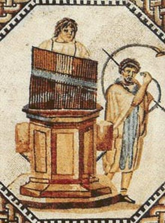 Music of ancient Greece - The hydraulis. Note the presence of the curved trumpet, called the bukanē by the Greeks and, later, cornu by the Romans.