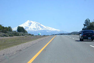 Interstate 5 - I-5 south approaching Weed and Mt. Shasta.