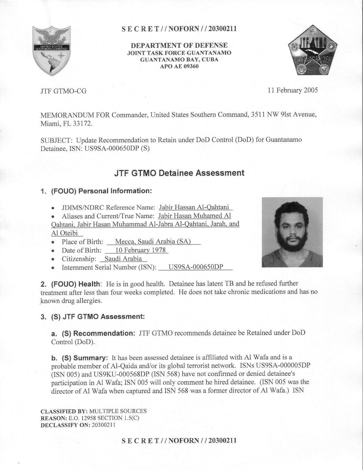 ISN 00650, Jabir Hasan Muhamed Al Qahtani's Guantanamo detainee assessment.pdf
