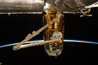 H-II Transfer Vehicle - Canadarm2 removing unpressurised payload from HTV-2.